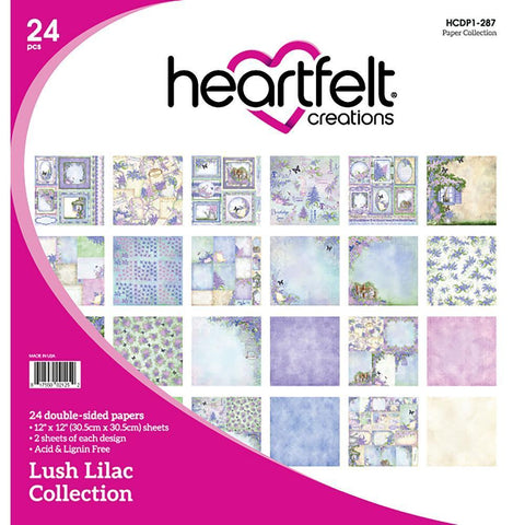 Heartfelt Creations Double-Sided Paper Pad 12 inch X12 inch 24 pack Lush Lilac