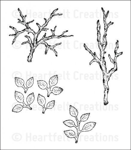 Heartfelt Creations Birds & Blooms Stamp Set - Leafy Branch