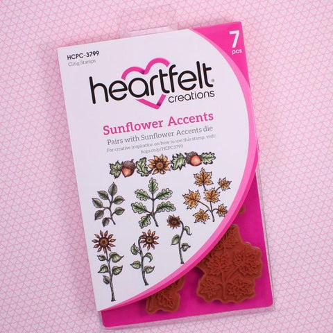 Heartfelt Creations Cling Rubber Stamp Set - Sunflower Accents