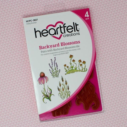 Heartfelt Creations Cling Rubber Stamp Set - Backyard Blossoms