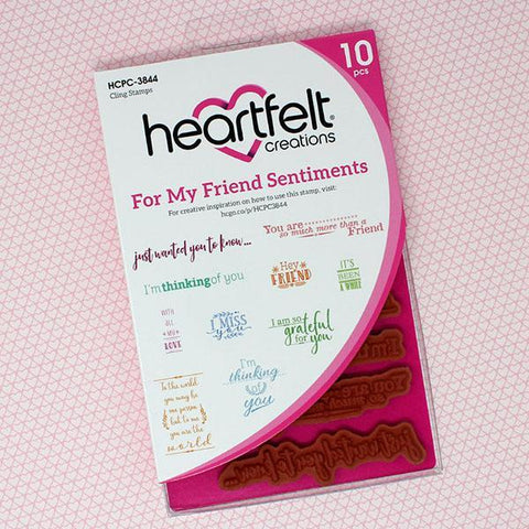 Heartfelt Creations Cling Rubber Stamp Set 5inch X6.5inch For My Friend Sentiments .5inch To 3.5inch