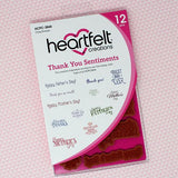 Heartfelt Creations Cling Rubber Stamp Set 5inch X6.5inch Thank You Sentiments .5inch To 3.25inch