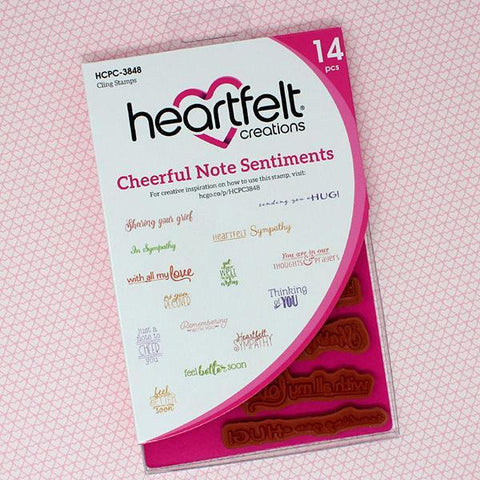 Heartfelt Creations Cling Rubber Stamp Set 5inch X6.5inch Cheerful Note Sentiments .25inch To 3inch