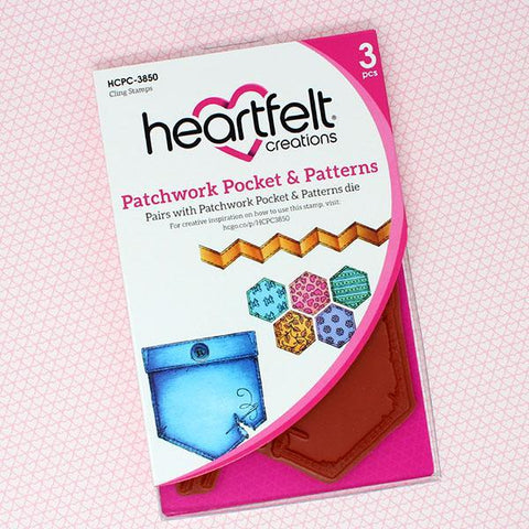 Heartfelt Creations Cling Rubber Stamp Set 5inch X6.5inch Patchwork Pocket & Patterns