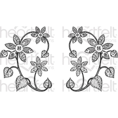 Heartfelt Creations Cling Rubber Stamp Set 5 inch X6.5 inch - Patchwork Daisy
