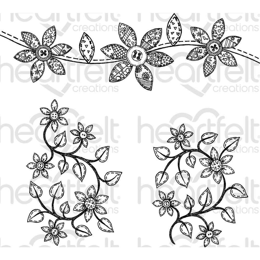 Heartfelt Creations Cling Rubber Stamp Set 5x6.5 inch - Patchwork Daisy Border