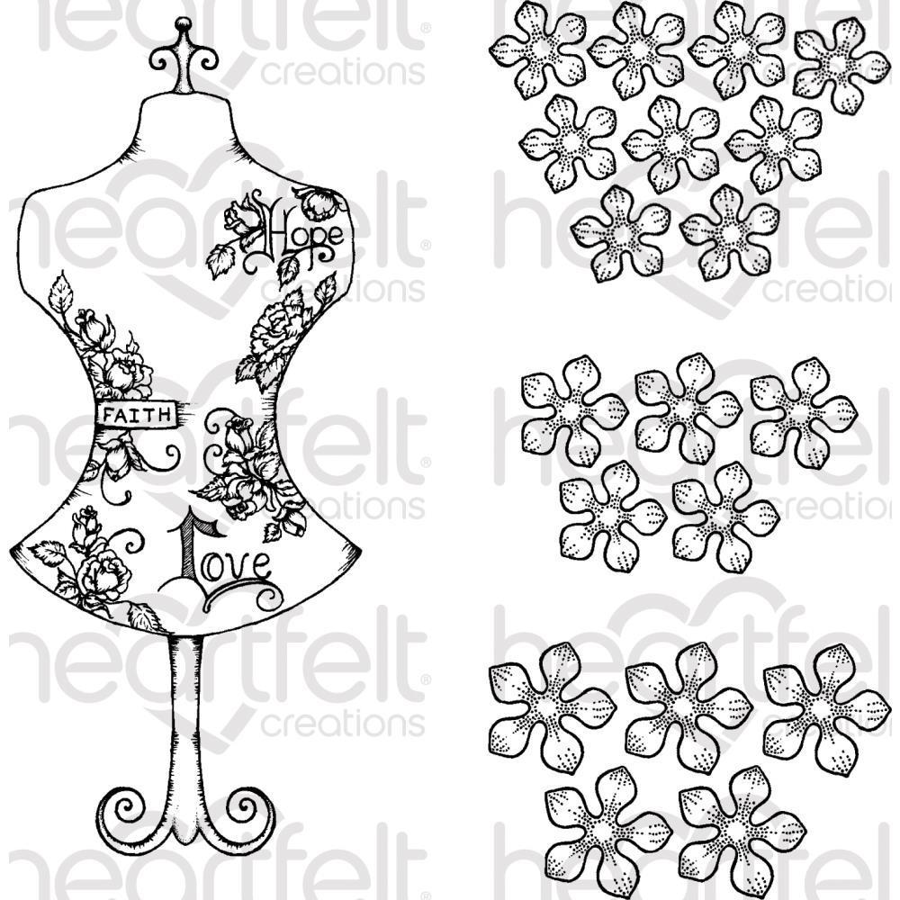 Heartfelt Creations Cling Rubber Stamp Set - Floral Fashionista