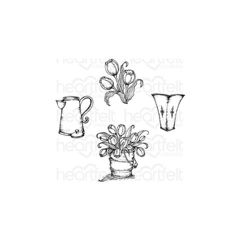 Heartfelt Creations Cling Rubber Stamp Set 5X6.5in - Tulip Boquet 1.75 To 3in