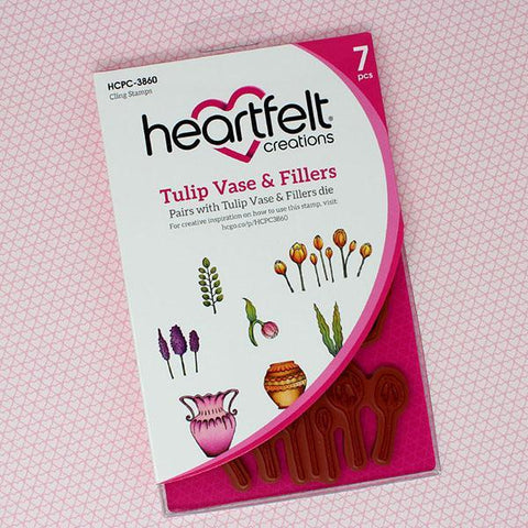 Heartfelt Creations Cling Rubber Stamp Set 5X6.5in - Tulip Vase & Fillers .75 To 3.5in