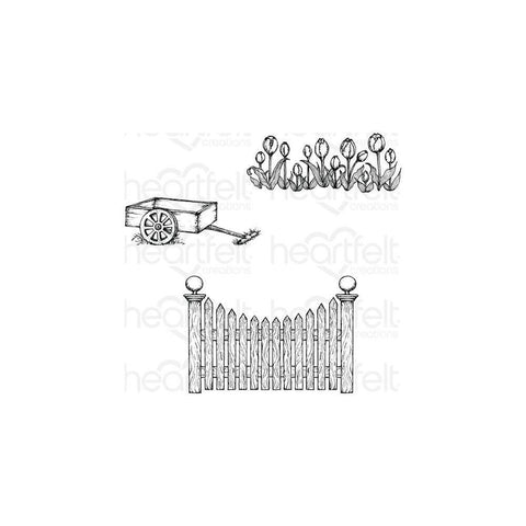 Heartfelt Creations Cling Rubber Stamp Set 5X6.5in - Tulip Cart & Fence .25 To 4in