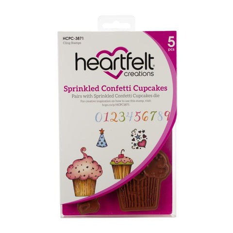 Heartfelt Creations Cling Rubber Stamps - Sprinkled Confetti Cupcakes