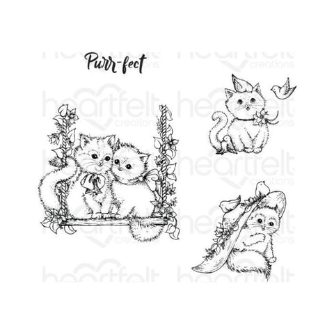 Heartfelt Creations Cling Rubber Stamps - Purr-Fect Playdate