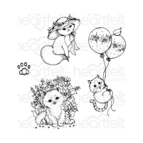 Heartfelt Creations Cling Rubber Stamps - Playful Miss Kitty