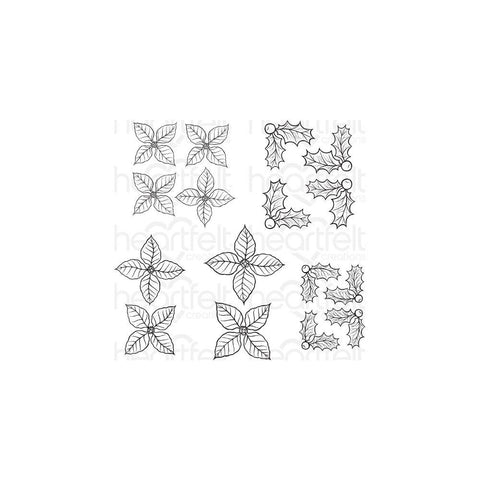Heartfelt Creations Cling Rubber Stamp Set - Poinsettia & Holly