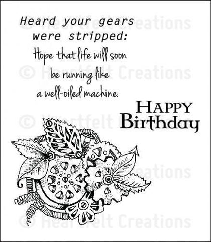 Heartfelt Creations All Geared Up Stamp Set - Tarnished Gears *