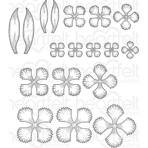 Heartfelt Creations Cling Rubber Stamp Set - Small Camelia Carnation