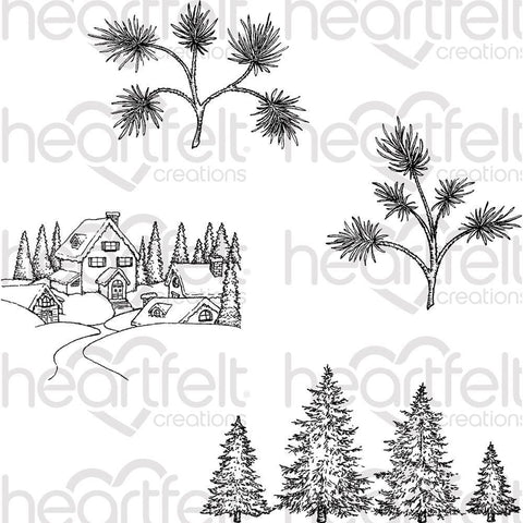 Heartfelt Creations Cling Rubber Stamp Set 5x6.5 inch - Snowy Pine Village