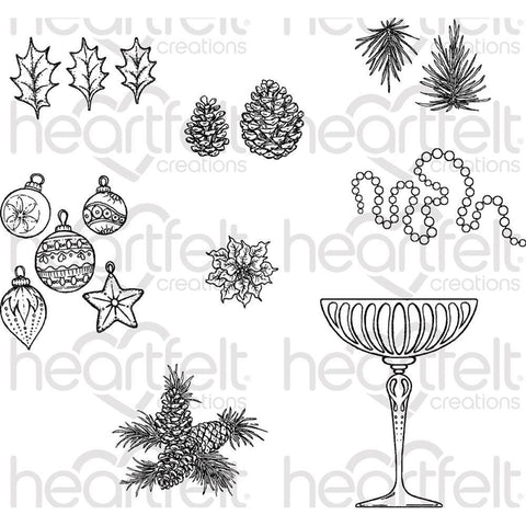 Heartfelt Creations Cling Rubber Stamp Set 5x6.5inch - Merry And Bright Accents