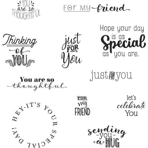 Heartfelt Creations Cling Rubber Stamp Set 5inch X6.5inch Just For You Sentiments .5inch To 2.75inch