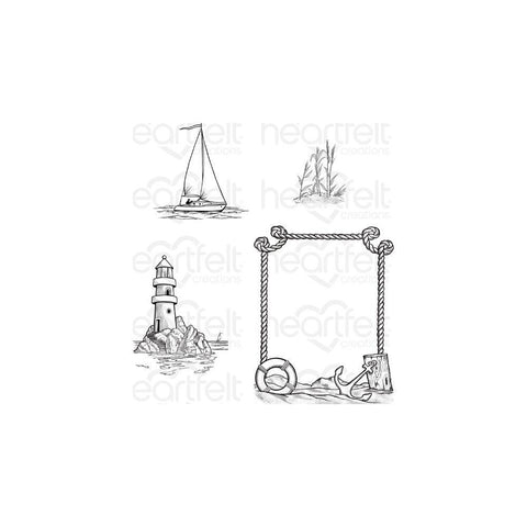 Heartfelt Creations A Day at Sea Cling Stamp Set of 4