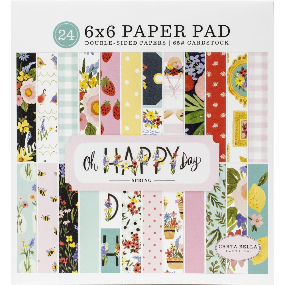 Carta Bella Double-Sided Paper Pad 6in x 6in 24 pack Oh Happy Day Spring, 12 Designs/2 Each