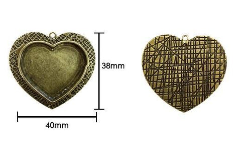 Ranger - Ice Resin Milan Bezels - Closed Back Medium Heart - Antique Bronze