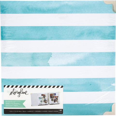 Heidi Swapp Storyline 2 D-Ring Album 8.5x11 inch - Watercolour Stripe