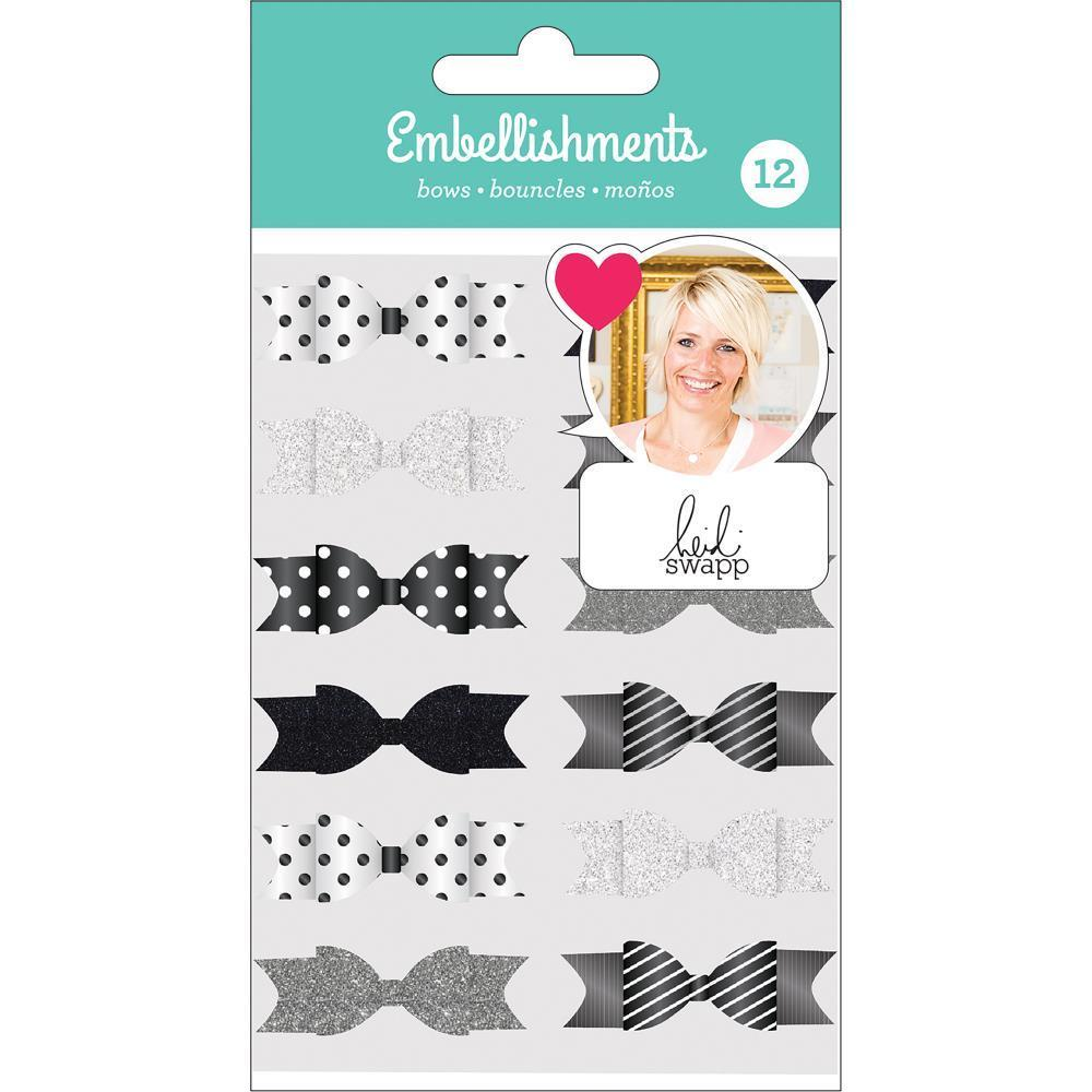 Heidi Swapp - Fabric Embellishments - Bows - Black, White & Silver with Glitter Accents 12 pack