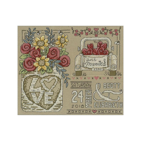 Imaginating Counted Cross Stitch Kit 9x7.5in - Rustic Wedding (14 Count)