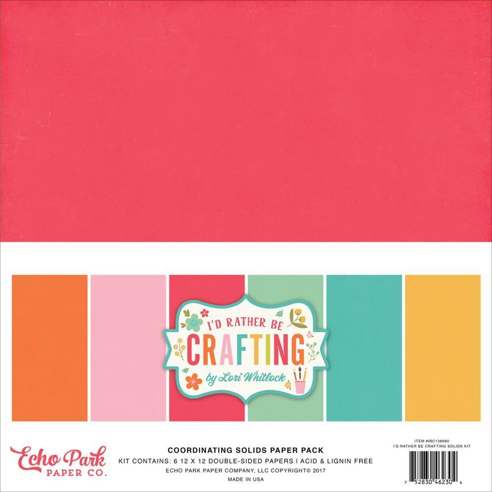 Echo Park D/S Solid Cardstock Pack 12x12 inch - I'd Rather Be Crafting