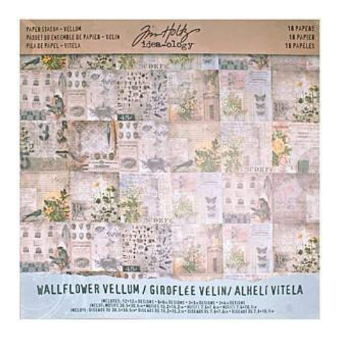 Tim Holtz Idea-Ology Vellum Paper Stash 12x12inch 18 Pack - Wallflower