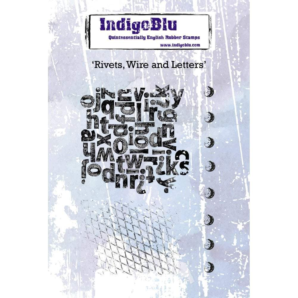 IndigoBlu Cling Mounted Stamp 5x4 inch - Rivets Wire & Letters