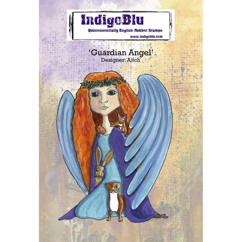 IndigoBlu Cling Mounted Stamp 5x4 inch - Guardian Angel