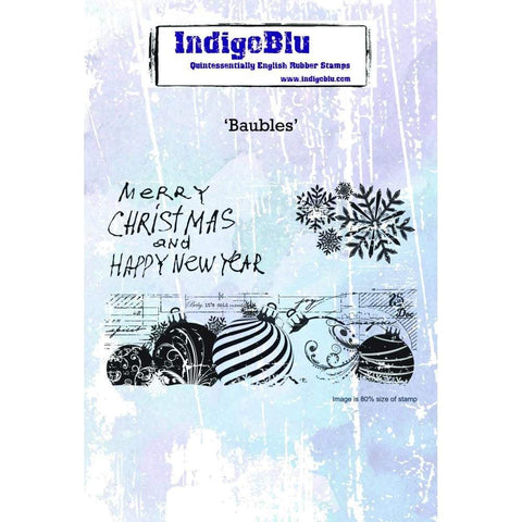 IndigoBlu Cling Mounted Stamp 5x4 inch - Baubles