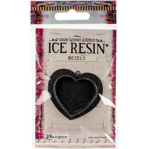 Ranger - Ice Resin Milan Bezels - Closed Back Heart Large - Antique Silver