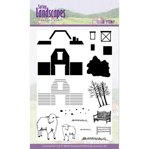 Find It Trading Jeanines Art Clear Stamps - Spring Landscapes Farm