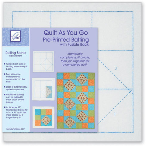 June Tailor - Quilt As You Go Printed Quilt Blocks On Batting - Rolling Stone
