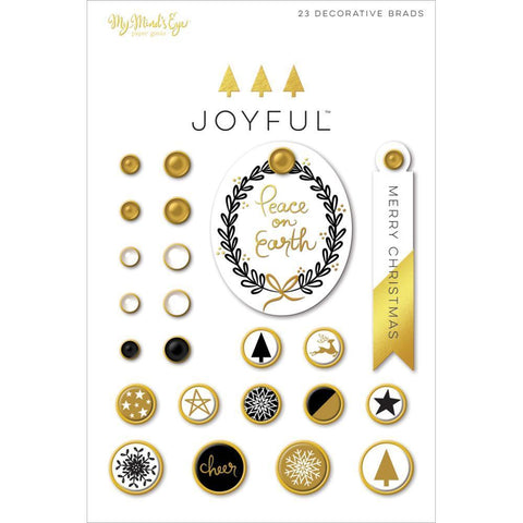 My Minds Eye - Joyful Decorative Brads 24 Pk