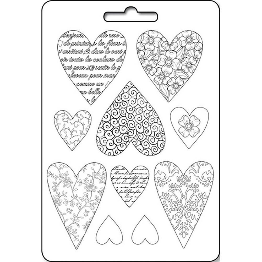 Stamperia Soft Maxi Mold 8.5x11.5 inch - Textured Hearts