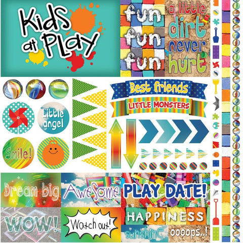Reminisce Elements Cardstock Stickers 12x12 inch - Kids At Play