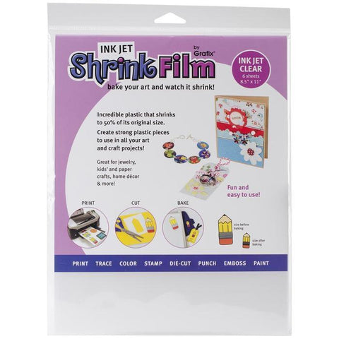 Grafix - Ink Jet Shrink Film - Clear 8.5X11 Inch (6 Pack )