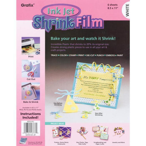 Grafix - Ink Jet Shrink Film - White 8.5X11 Inch (6 Pack )