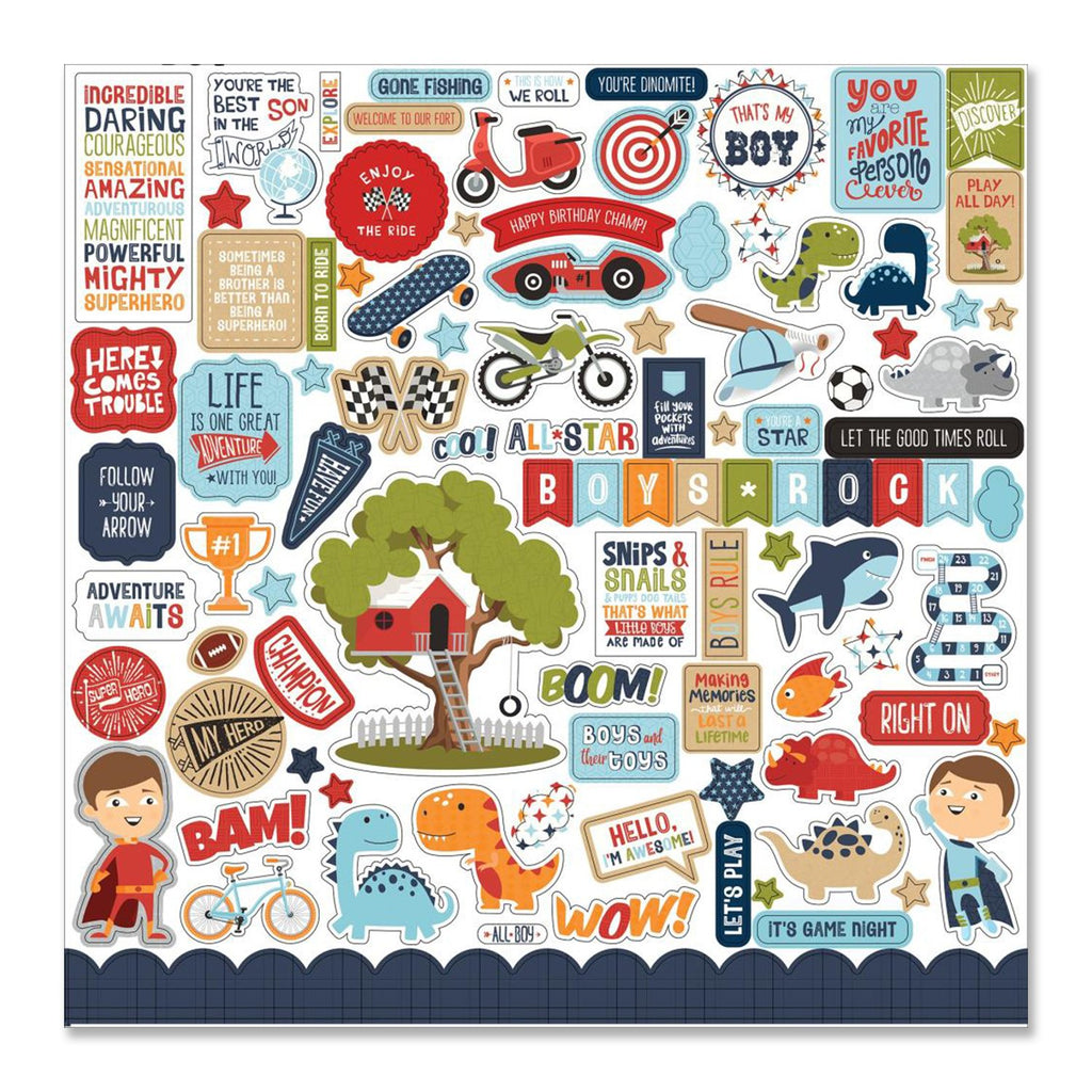 All Boy Cardstock Stickers 12 x 12 - Elements