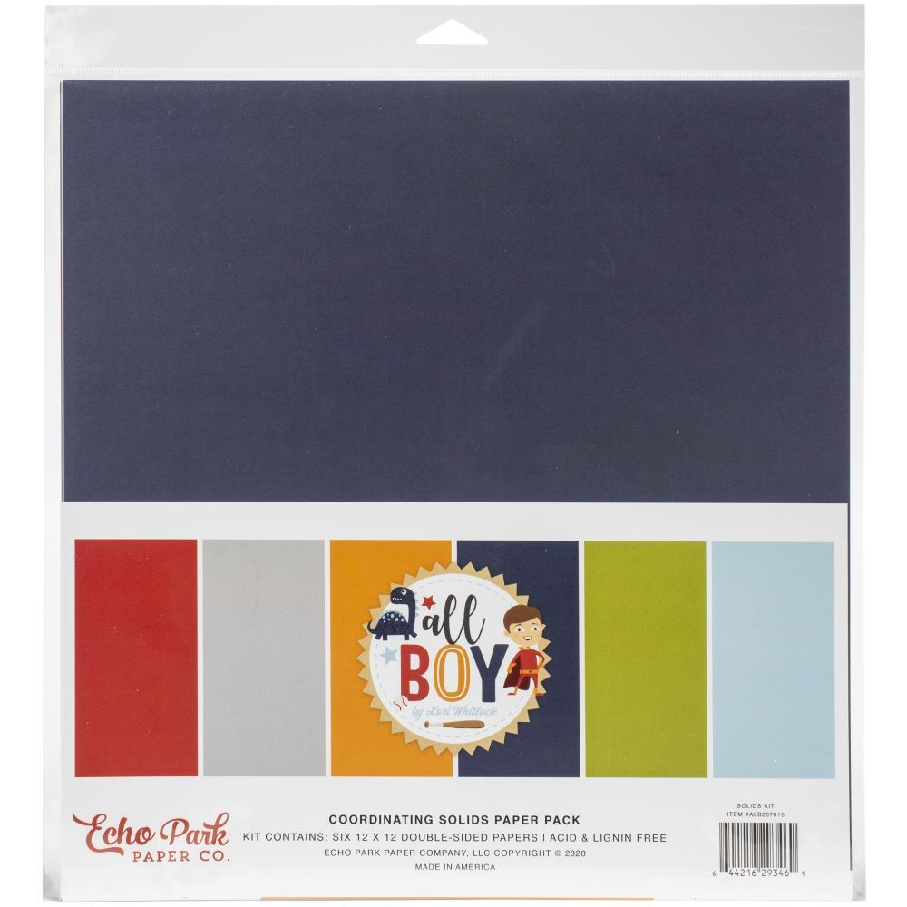 Echo Park Double-Sided Solid Cardstock 12in x 12in 6 pack - All Boy, 6 Colours
