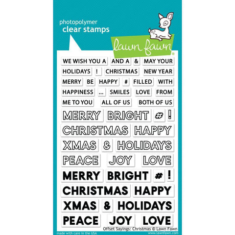 Lawn Fawn - Clear Stamps 4 inch X6 inch - Offset Sayings: Christmas