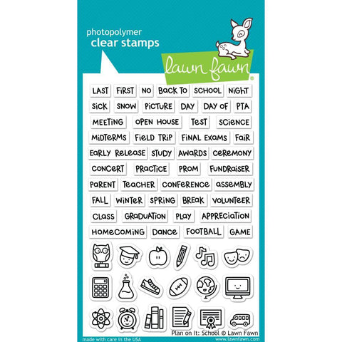 Lawn Fawn - Clear Stamps 4 inch X6 inch - Plan On It: School