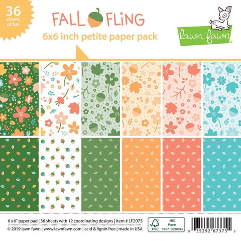 Lawn Fawn - S/Sided Petite Paper Pack 6x6 inch - 36 pack - Fall Fling, 12 Designs/3 Each