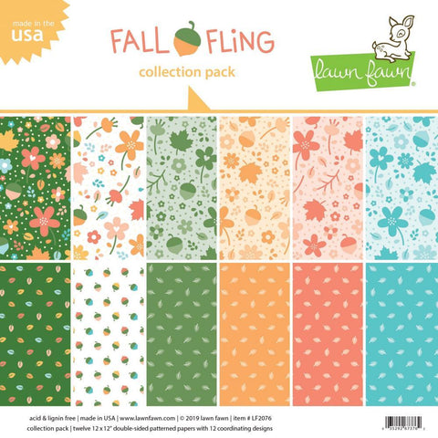 Lawn Fawn - D/Sided Collection Pack 12x12 inch 12 pack - Fall Fling 6 Designs/2 Each