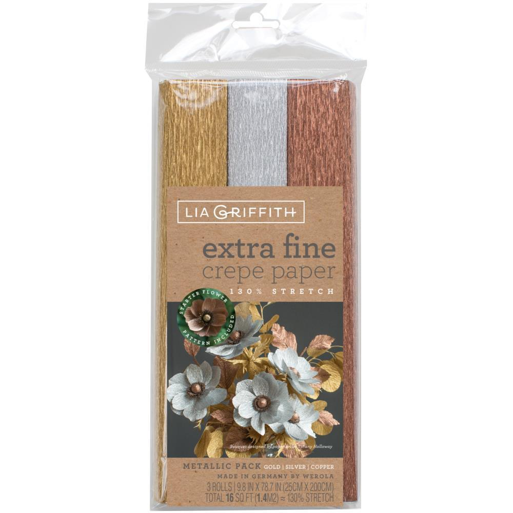 Lia Griffith - Extra Fine Crepe Paper 3 pack - Metallic