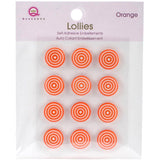 Queen & Co Lollies Self-Adhesive Embellishments 12 pack - Orange